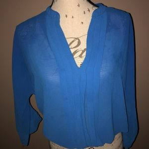 Blue Sheer Pleated Blouse